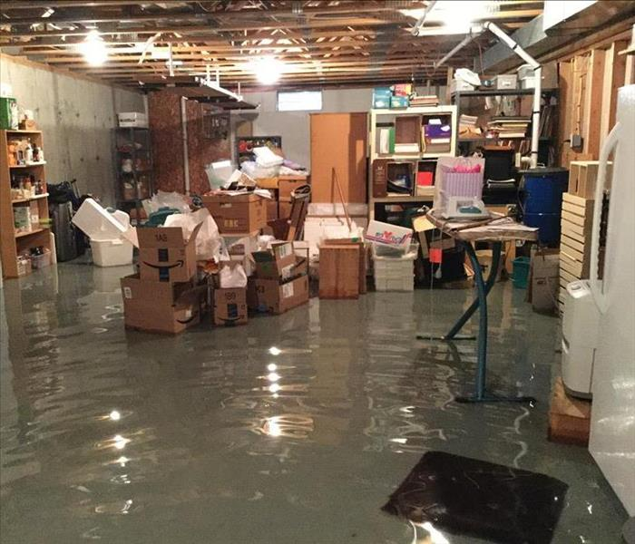 basement flooded with water