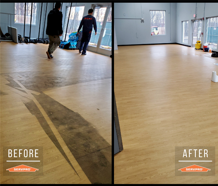 commercial floor cleaning. before: dirt and residue of spray covered floor. after: floor completely clean